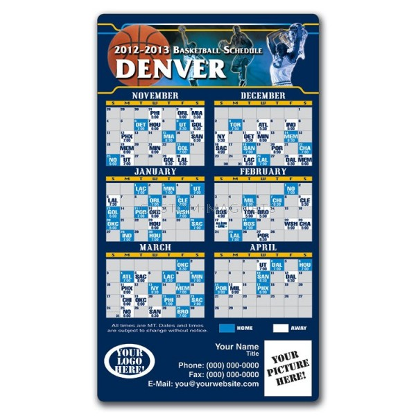 "Denver Nuggets Basketball Team Schedule Magnets 4"" X 7"