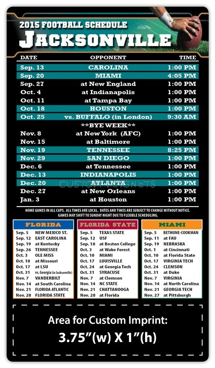 jacksonville jaguars pro football schedule magnets 4 x 7 custom. Cars Review. Best American Auto & Cars Review