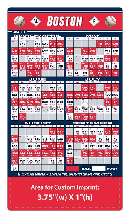 Boston Red Sox Baseball Team Schedule Magnets 4 Quot X 7