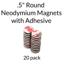"Neodymium Magnets with Adhesive - .5"" Round"