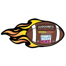 "Football w/ Flames Magnetic Car Sign - 10"" x 4.625"""