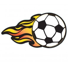 "Soccer Ball w/ Flames Magnetic Car Sign - 5"" x 9.4375"""