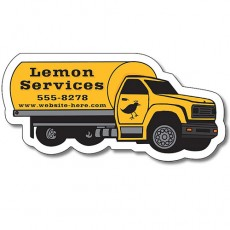 "Custom Tanker Truck Shaped Magnets - 3.625"" x 1.75"""