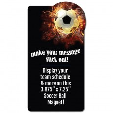 "Soccer Ball on Fire Rectangle Magnet - 3.875"" x 7.25"""