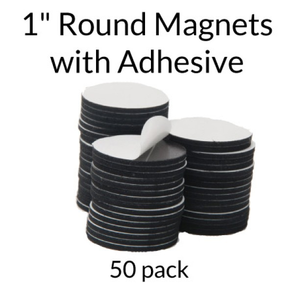 "Round Adhesive Magnets- 1"" - 50 pack"