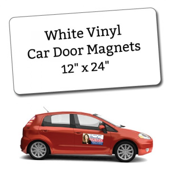 "12"" x 24"" Blank White Vinyl Car Magnets - Round Corners"