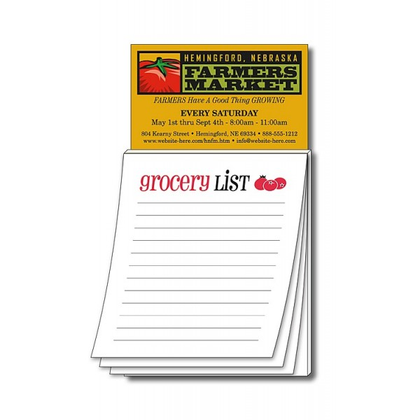 "Custom Business Card Magnet with ""Grocery List"" Notepad"