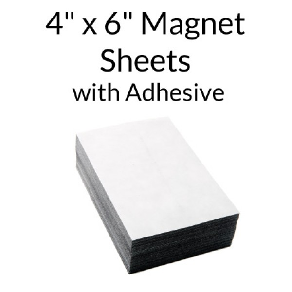 "Magnetic Sheet with Indoor Adhesive - 4"" x 6"""