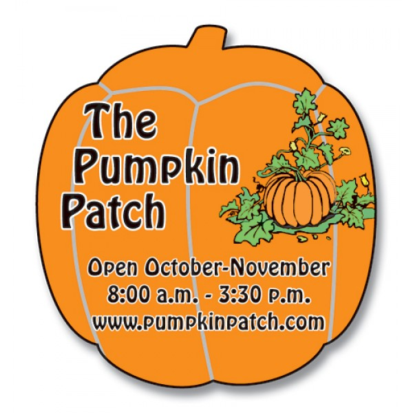 "Custom Pumpkin Shaped Magnets 1.875"" x 2"""