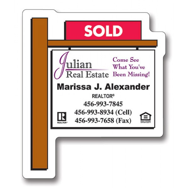 "Custom Real Estate Sold Sign Magnets 2.25"" x 2.75"""