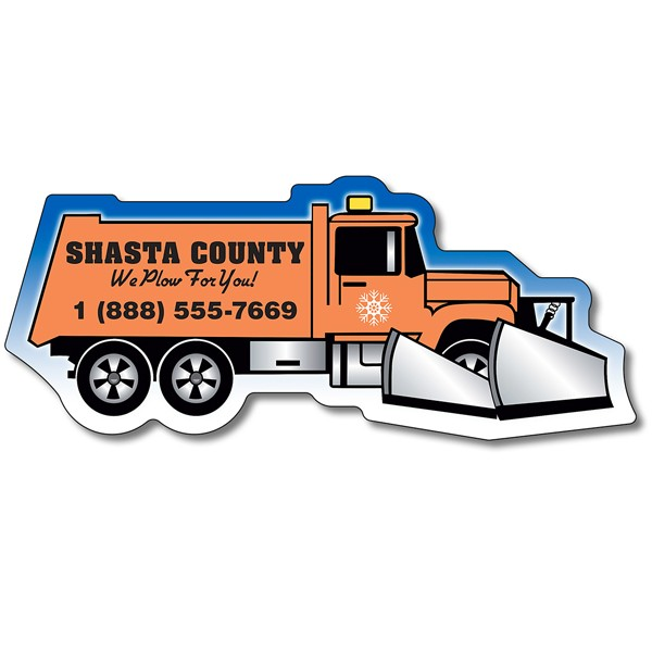 "Custom Snow Plow Shaped Magnets - 4.25"" x 1.78125"""