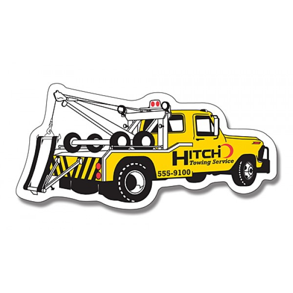 "Custom Tow Truck Shaped Magnets - 4.75"" x 2.25"""