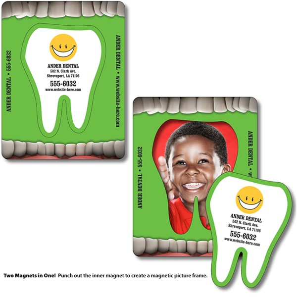 """3.5"""" x 4.5"""" Full Color Tooth Picture Frame Magnet"""