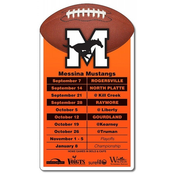 "Custom Football Schedule Magnets 3.25"" x 5.75"""