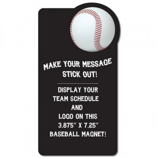 "Custom Baseball Rounded Rectangle Magnet - 3.875"" x 7.25"""