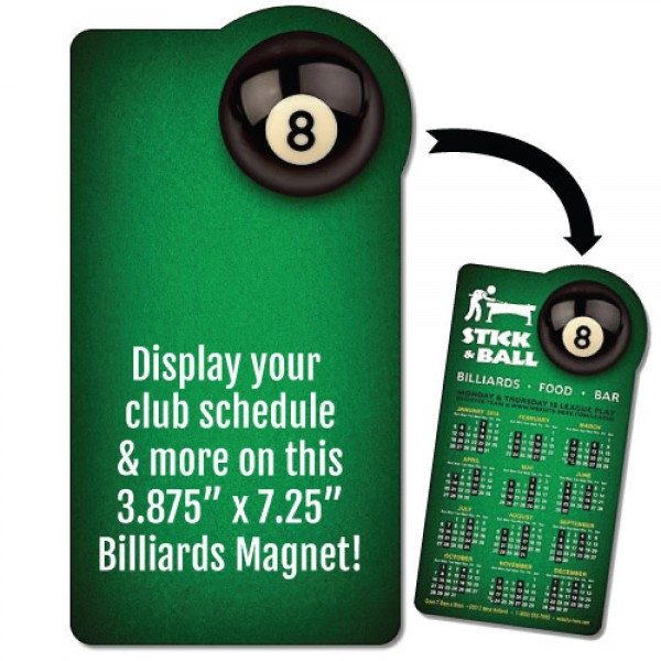"Custom Billiards Rounded Rectangle Magnet - 3.875"" x 7.25"""