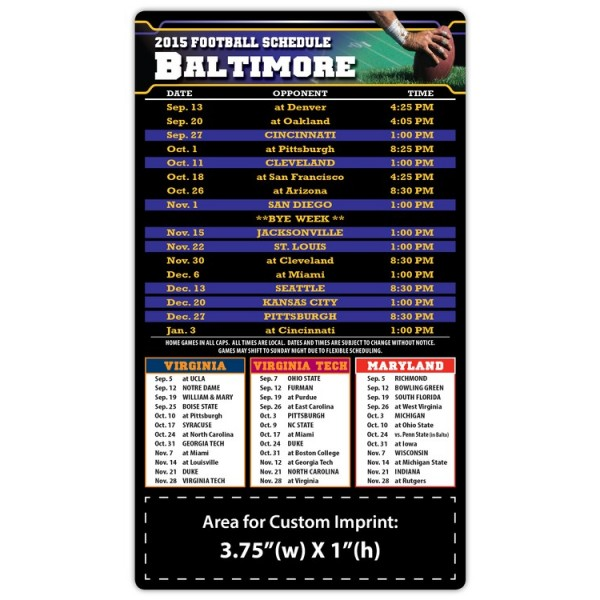 "Baltimore Ravens Pro Football Schedule Magnets 4"" x 7"""