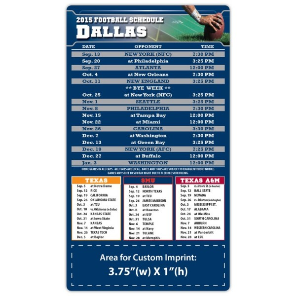 "Dallas Cowboys Pro Football Schedule Magnets 4"" x 7"""
