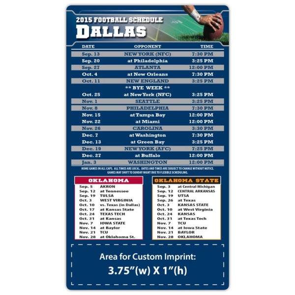 "Dallas Cowboys (Oklahoma) Pro Football Schedule Magnets 4"" x 7"""