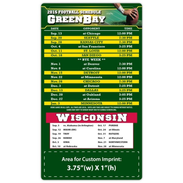 "Green Bay Packers Pro Football Schedule Magnets 4"" x 7"""