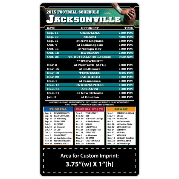 "Jacksonville Jaguars Pro Football Schedule Magnets 4"" x 7"""