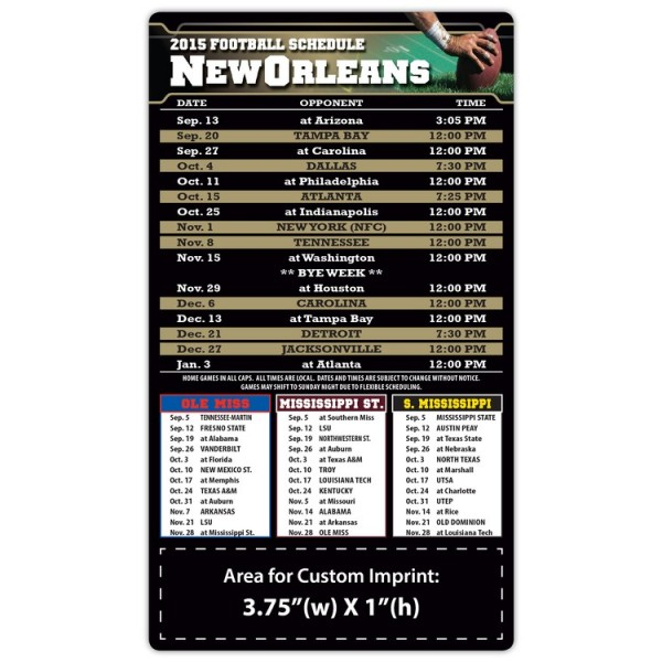"""New Orleans Saints Pro Football Schedule Magnets 4"""" x 7"""""""