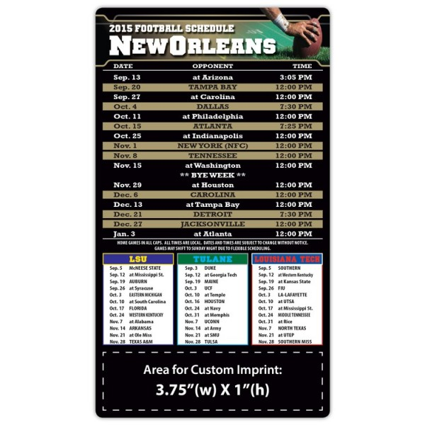"New Orleans Saints (West) Pro Football Schedule Magnets 4"" x 7"""