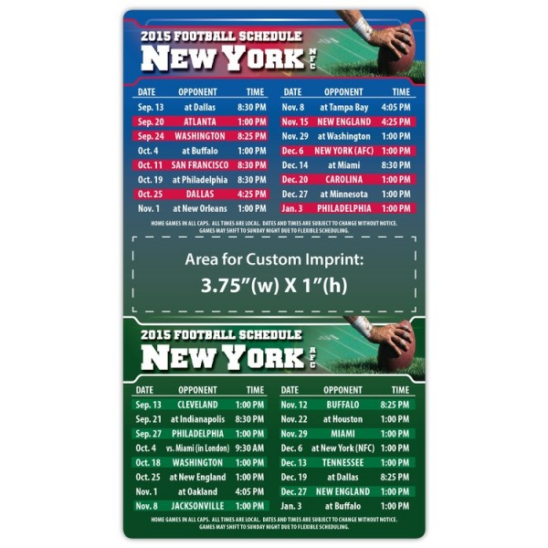 """New York Giants Pro Football Schedule Magnets 4"""" x 7"""""""