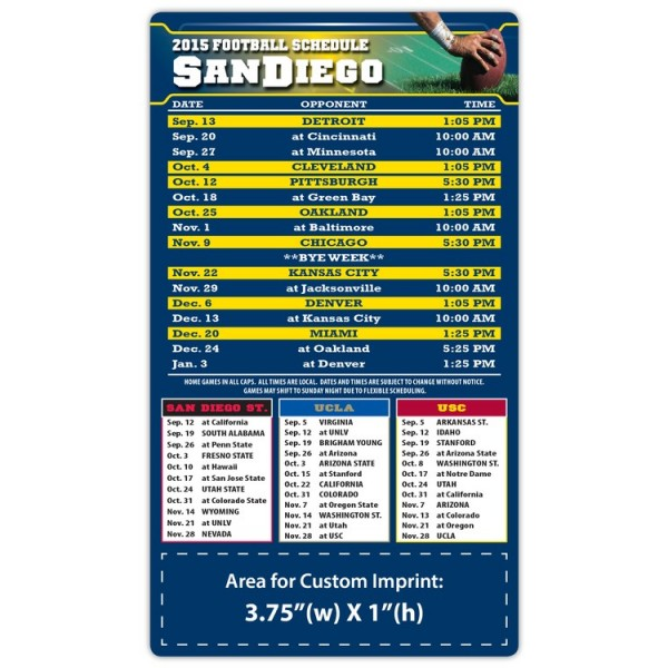 """San Diego Chargers Pro Football Schedule Magnets 4"""" x 7"""""""