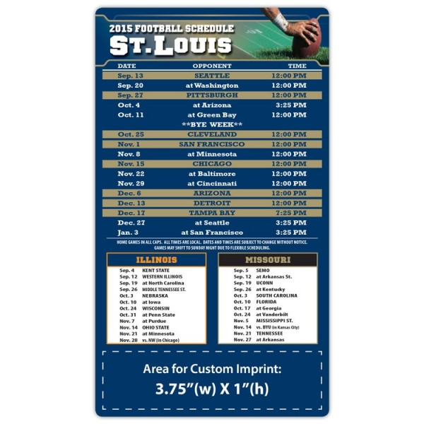 "St. Louis Rams Pro Football Schedule Magnets 4"" x 7"""