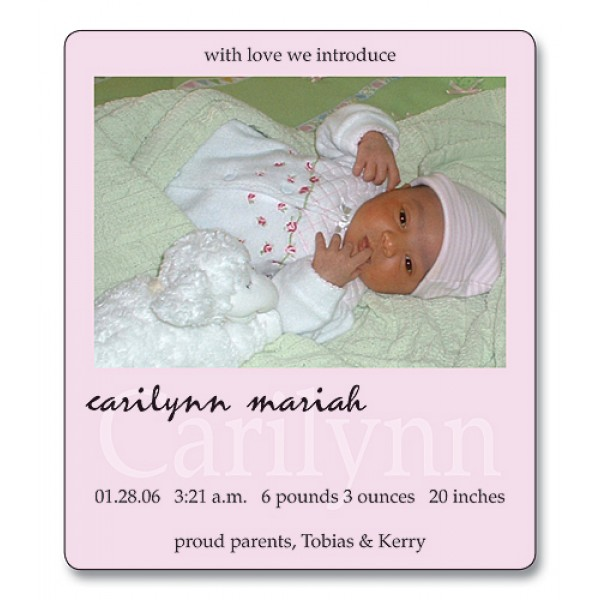 "3.5"" x 4"" Custom Baby Announcement with Rounded Corners - Pretty in Pink Design"