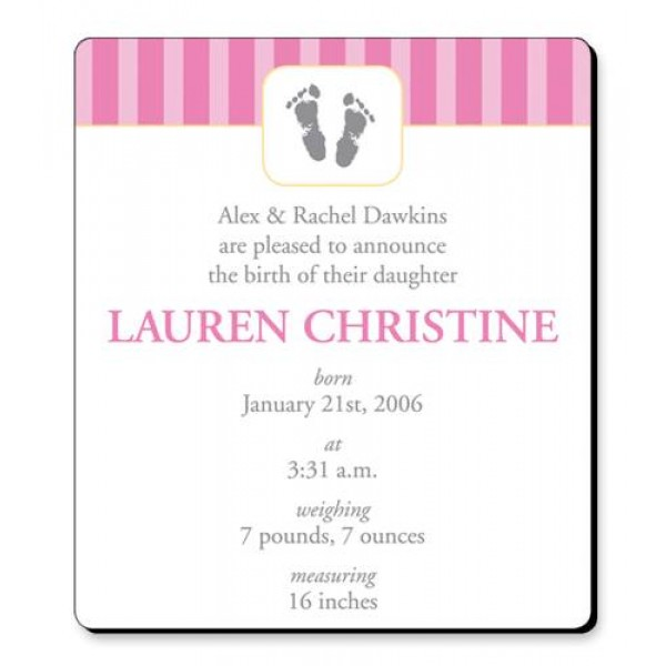 "3.5"" x 4"" Custom Baby Announcement Magnets- Pink Footprints Design"