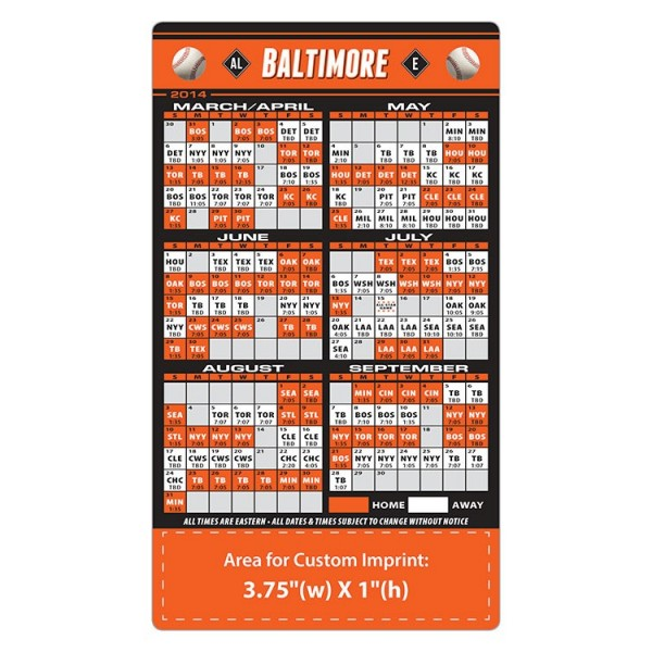 """Baltimore Orioles Baseball Team Schedule Magnets 4"""" x 7"""""""