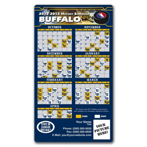"""Buffalo Sabres Pro Hockey Schedule Magnets 4"""" x 7"""""""