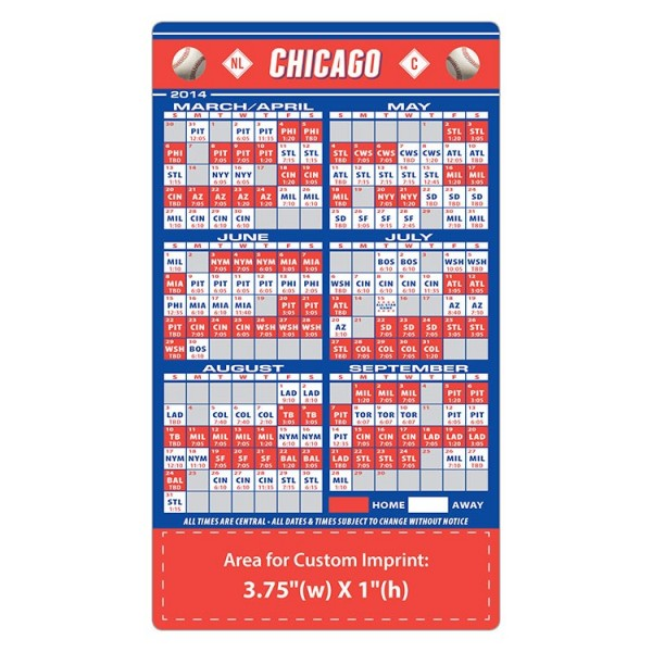 """Chicago Cubs Baseball Team Schedule Magnets 4"""" x 7"""""""