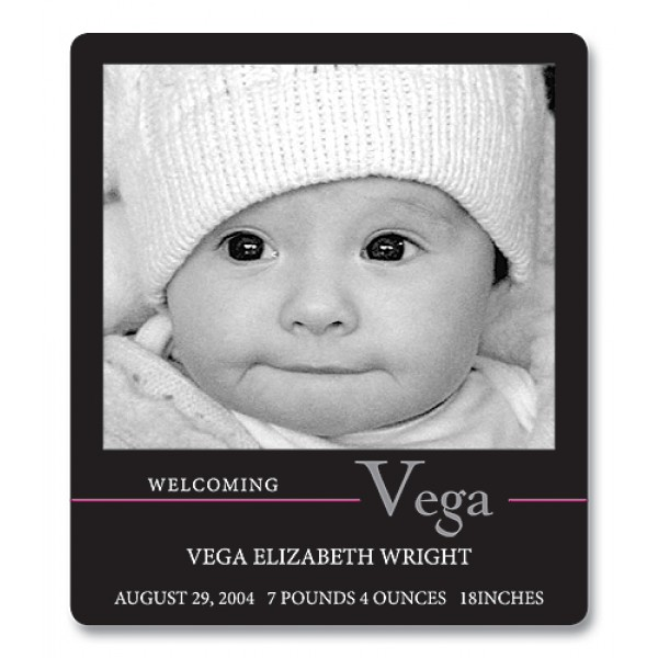 "3.5"" x 4"" Custom Baby Announcement Magnets -  Classic Black Design"