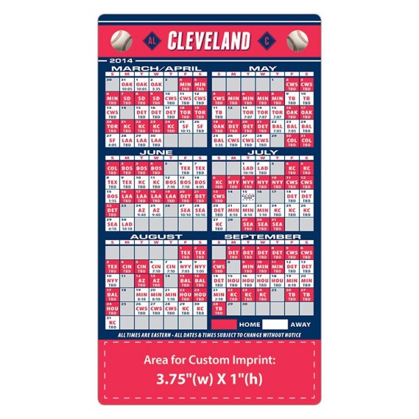 "Cleveland Indians Baseball Team Schedule Magnets 4"" x 7"""