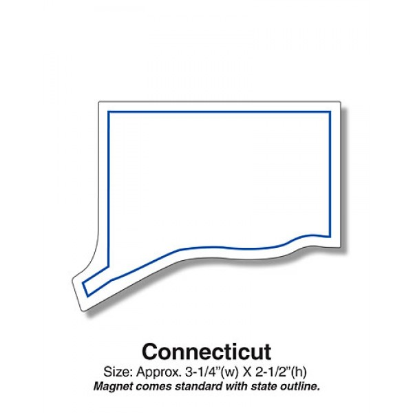 "Connecticut Shaped State Fridge Magnets - 3.25"" x 2.5"""