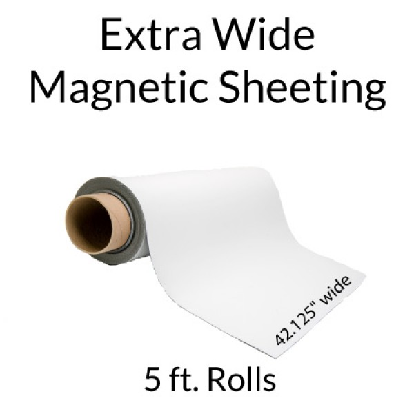 Extra Wide Magnetic White Vinyl 5' Rolls