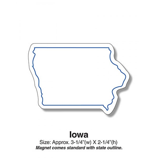"Iowa State Shaped Fridge Magnets - 3.25"" x 2.25"""