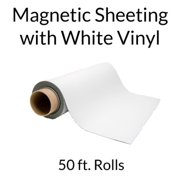 Flexible Magnetic Sheets with White Vinyl 50' Rolls