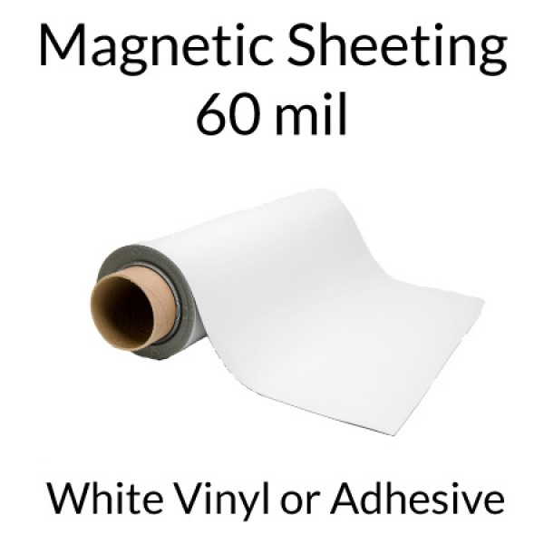 Flexible Magnetic Sheets with Adhesive or Vinyl 60 mil - 25' Rolls