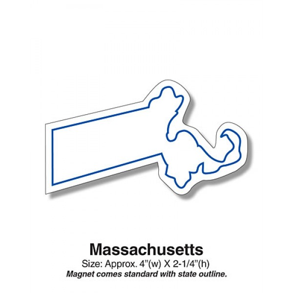 "Massachusetts State Shaped Fridge Magnets - 4"" x 2.25"""