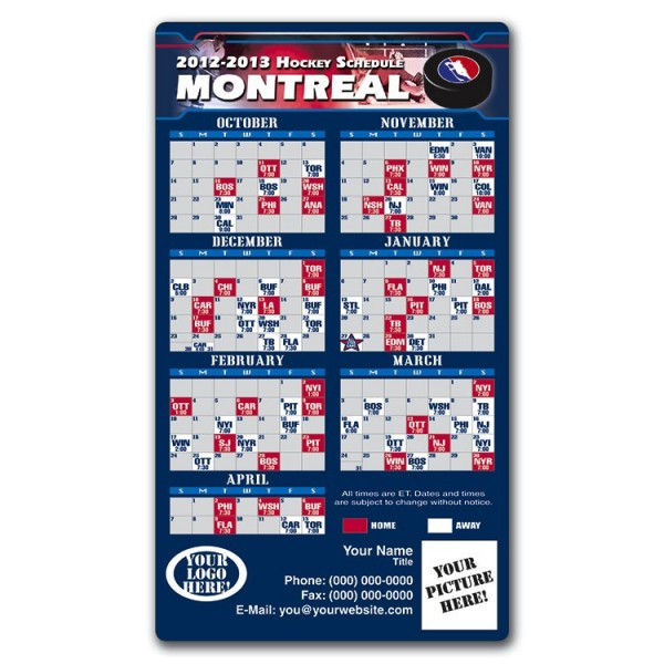 """Montreal Canadiens Hockey Team Schedule Magnets 4"""" x 7"""""""