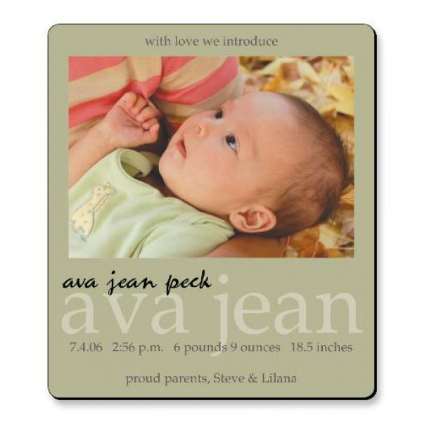 "3.5"" x 4"" Custom Baby Announcement Magnets - Neutral Design"