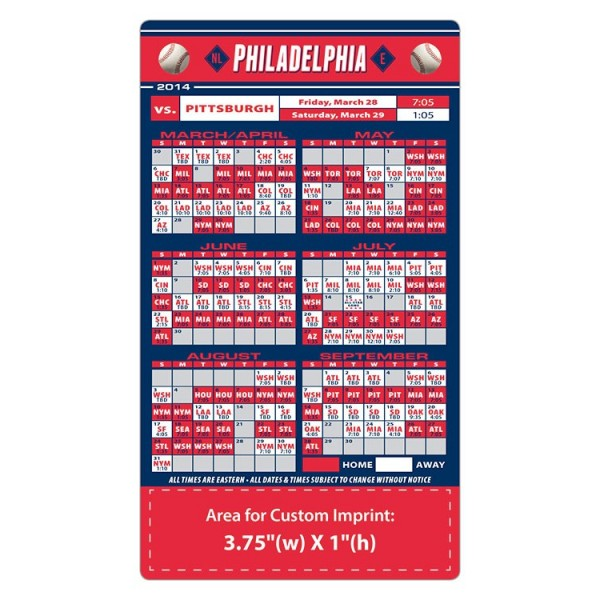 "Philadelphia Phillies Baseball Team Schedule Magnets 4"" x 7"""