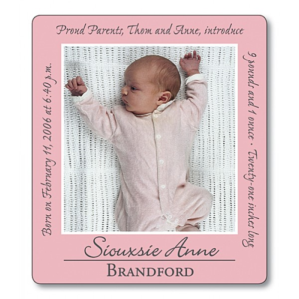"""3.5"""" x 4"""" Custom Baby Announcement with Rounded Corners - Pink Border"""