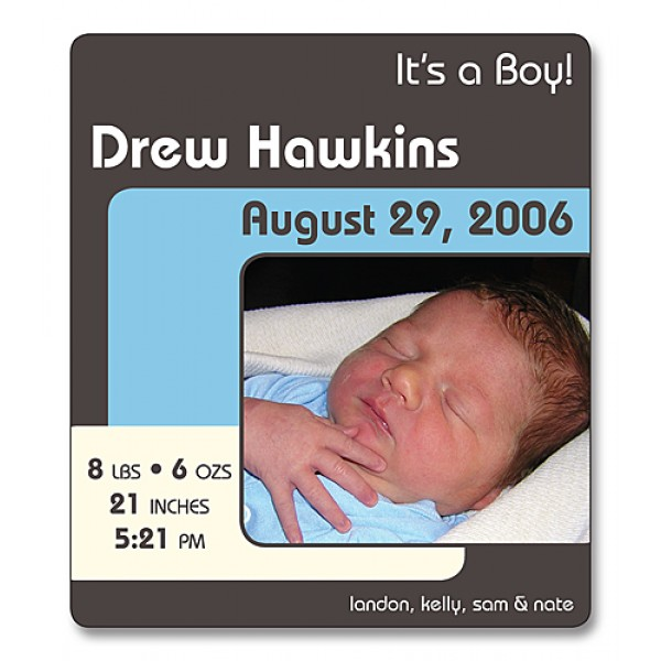 "3.5"" x 4"" Custom Baby Announcement with Rounded Corners - Retro Design"