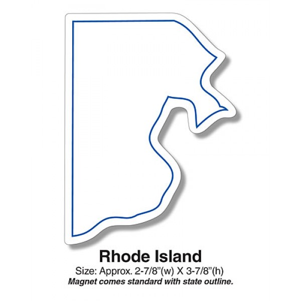 "Custom Rhode Island State Shaped Magnets - 2.875"" x 3.875"""