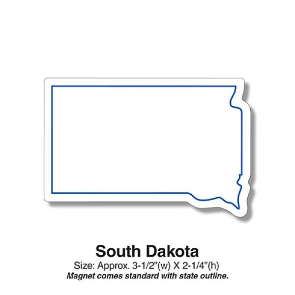 "Custom South Dakota State Shaped Magnets - 3.5"" x 2.25"""